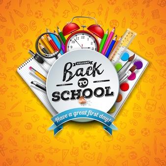 カラフルな鉛筆、はさみ、定規、タイポグラフィの文字で学校に戻る