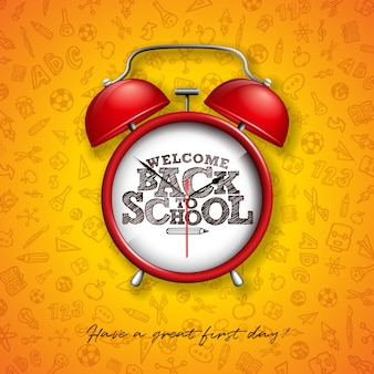 赤い目覚まし時計とタイポグラフィの黄色の背景を持つ学校に戻る