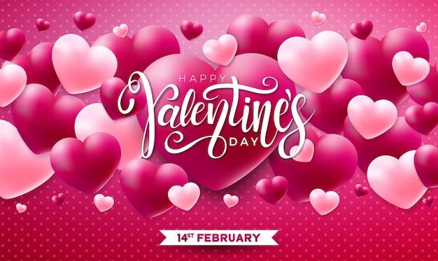 Счастливый день святого валентина дизайн с красным сердцем