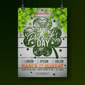 Празднование дня святого патрика, флаер с клевером и типографским письмом