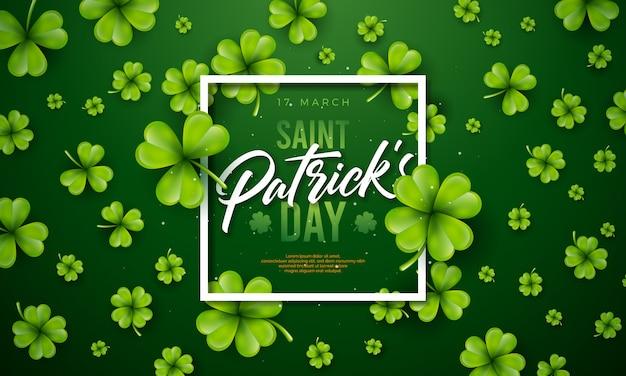 緑の背景にクローバーの葉と聖パトリックの日デザイン。
