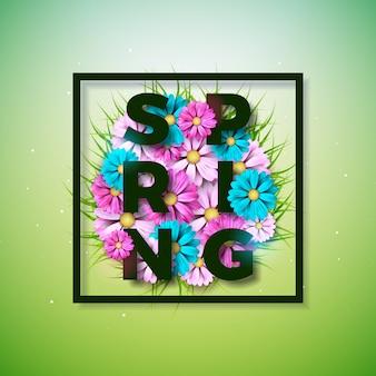 春のテキスト。タイポグラフィの手紙と花のデザインテンプレート