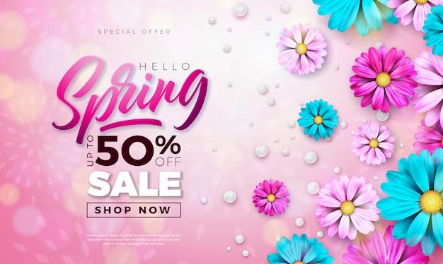 春のバナー。タイポグラフィの手紙と花のデザインテンプレート
