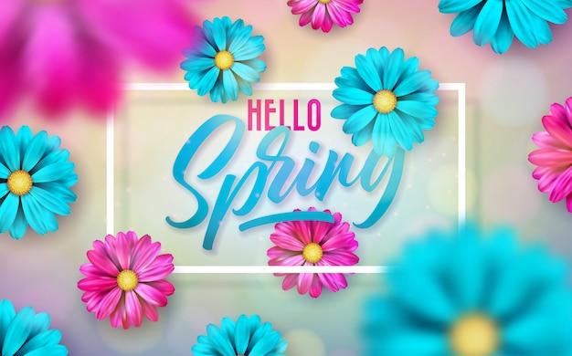 光沢のある明るい背景に美しいカラフルな花と春の自然のテーマのイラスト。