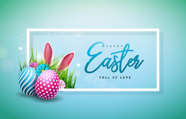 カラフルな塗装卵とウサギの耳のハッピーイースターイラスト