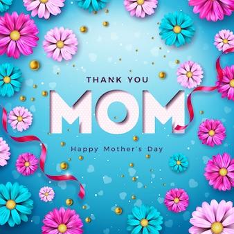 青い背景に花とタイポグラフィの手紙と幸せな母の日グリーティングカードデザイン。