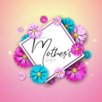 花とタイポグラフィの手紙で幸せな母の日グリーティングカードデザイン