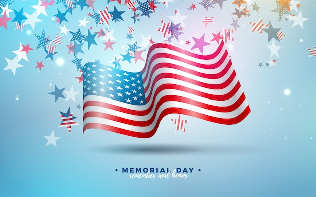 День памяти шаблона дизайна сша с американским флагом на фоне падения красочные звезды. национальный патриотический праздник иллюстрация для баннера, открыток, приглашений или плакат.