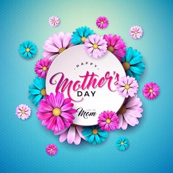 青い背景に花とタイポグラフィの手紙と幸せな母の日グリーティングカードデザイン。バナー、チラシ、招待状、パンフレット、ポスターのお祝いイラストテンプレート。