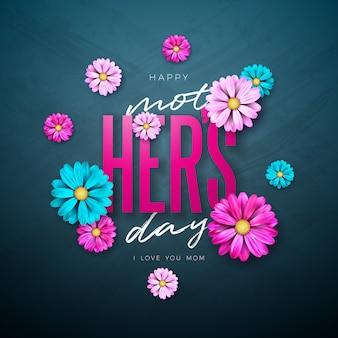 Дизайн поздравительной открытки с днем матери с цветком и книгопечатанием