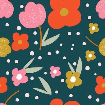 モダンなスタイルのシームレスな花柄