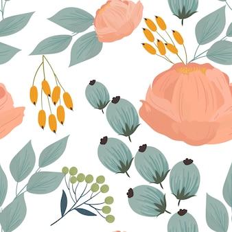 Бесшовный фон с цветами, ветками, листьями