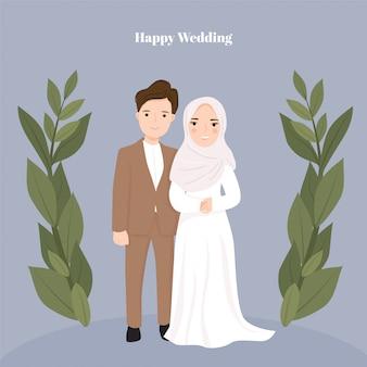 かわいい漫画のカップルの新郎新婦のイスラム教徒
