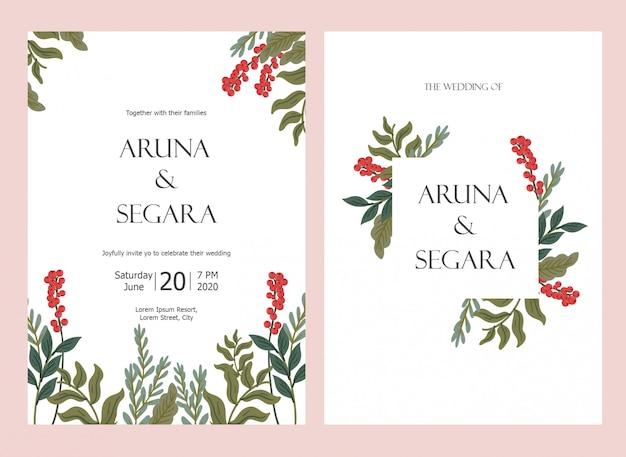 美しい花の結婚式招待状セットカードテンプレート