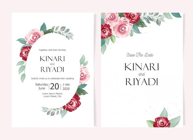 美しい花の結婚式の招待状セットカードテンプレート