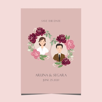 かわいい漫画のカップルの結婚式の招待カードの新郎新婦