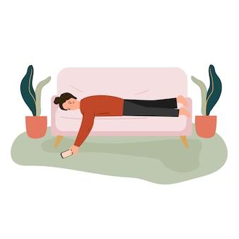 若い女性は、検疫中に退屈、退屈を感じる