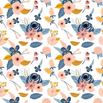 レトロなビンテージスタイルの花柄プリントパターン背景