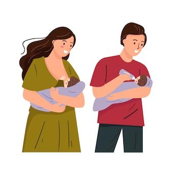 Установите иллюстрацию матери и отца подавая младенец. мама кормит грудью милый плоский рисунок