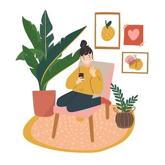 Девушка принимая селф в эстетической комнате. видео звонок дома милая плоская иллюстрация.