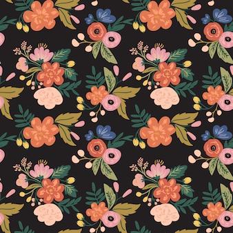 Винтаж цветок цветочный узор фон жирный цвет