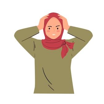 ショックを受けたパニック、プレッシャーを感じる感情表現。若い女性の頭をつかむ