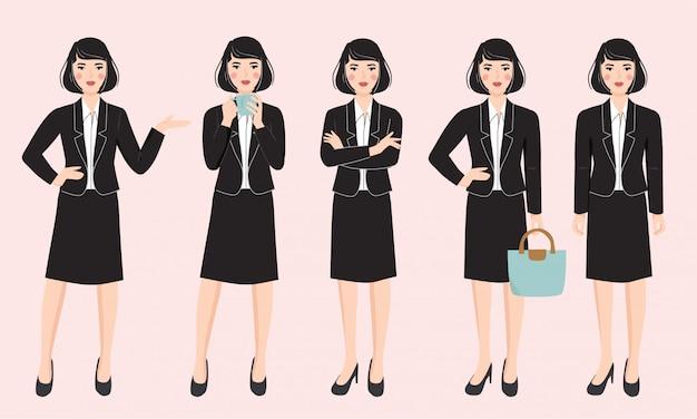 さまざまなポーズのビジネス女性キャラクターのセット