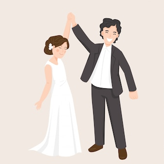 ウェディングドレスの図で幸せな若いカップル