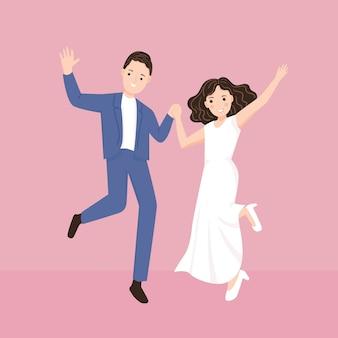 ウェディングドレスで幸せな若いカップルが一緒にイラストをジャンプします。