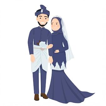 マレーシアのウェディングドレスのイラストでかわいいイスラム教徒のカップル