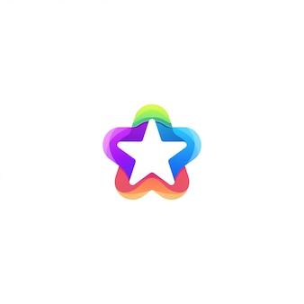 星の色のロゴデザインベクトル抽象