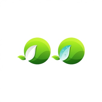 Абстрактный круг листьев логотип
