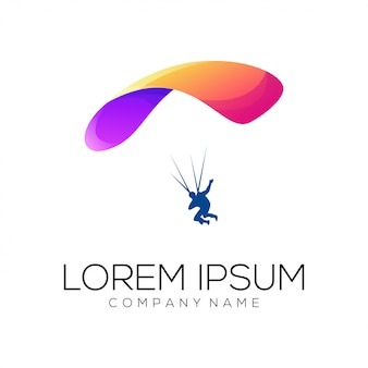 Прыжки с парашютом дизайн логотипа вектор
