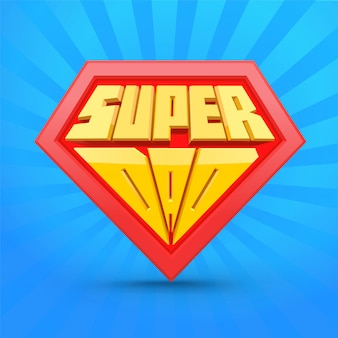 スーパーパパシールドカード。コミックスタイル。