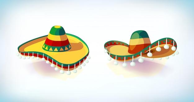 ソンブレロの帽子セット。メキシカンハット。仮面舞踏会またはカーニバル衣装の頭飾り。ベクトル図