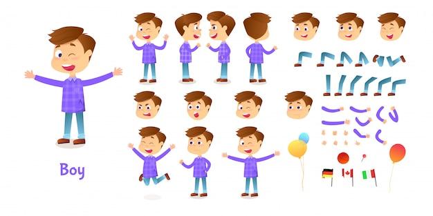 少年キャラクターコンストラクター。漫画少年作成マスコットキット。アニメーションやイラストのキャラクター作成セットのポーズや感情