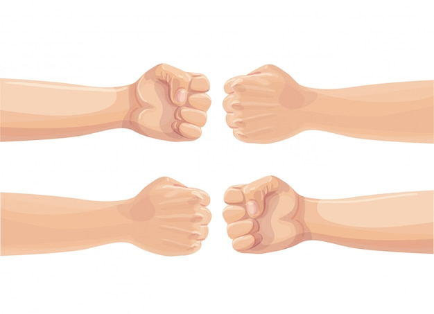 Два кулака бьют друг друга. два сжатых кулака натыкаются. концепция конфликта, протеста, братства или столкновения. мультфильм иллюстрация