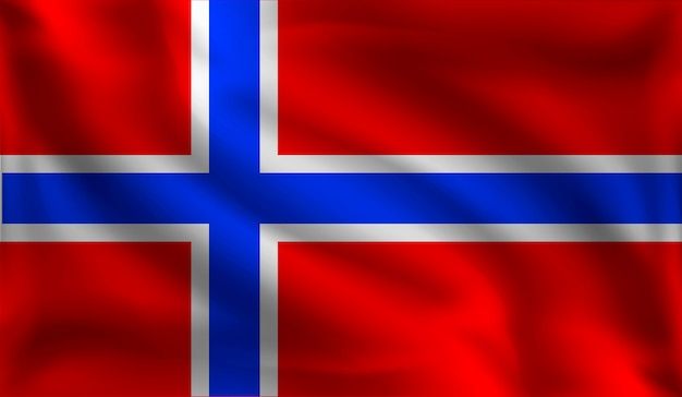 ノルウェーの旗を振る