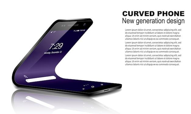 Изогнутый телефон на изолированные с отражением, тенью и текстом