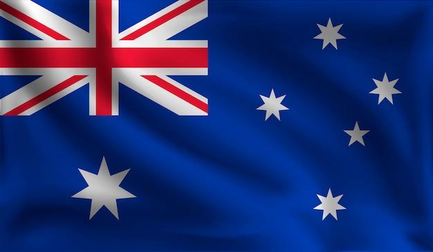 Развевающийся австралийский флаг, флаг австралии