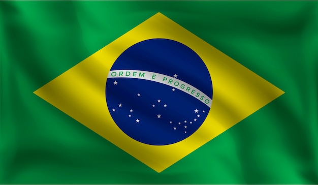 Развевающийся флаг бразильцев, флаг бразилии
