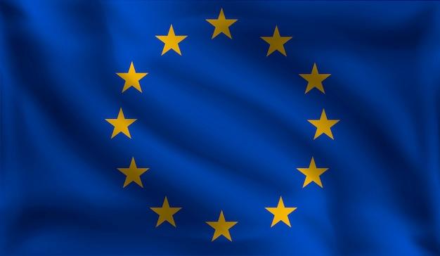 Развевающийся флаг европейцев, флаг европы