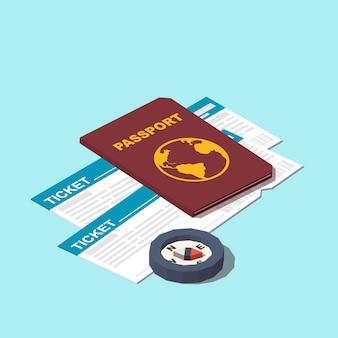 パスポート、チケット、コンパスアイコン
