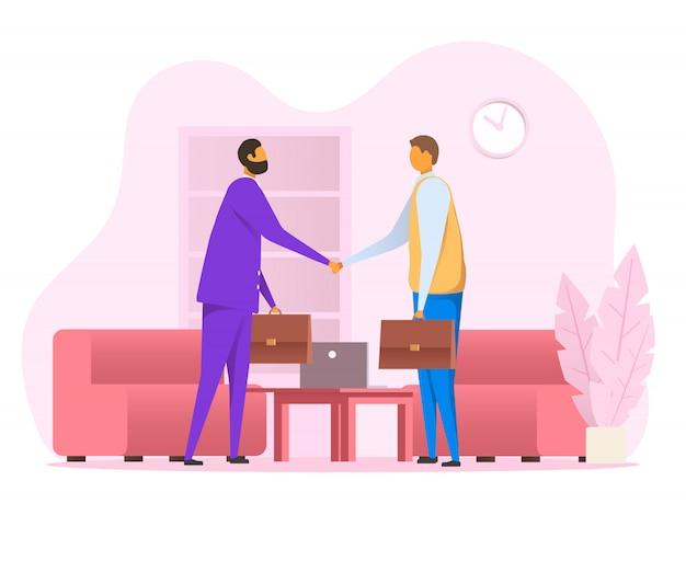 Плоские вектор деловых людей пожать друг другу руки