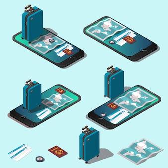 旅行のコンセプトまたはオンライン予約セット。
