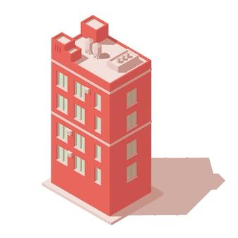 Изометрические город здание значок.