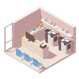 Изометрический офисный кабинет с двумя копировальными машинами, счетчиком, папками с бумагами и другим офисным оборудованием.