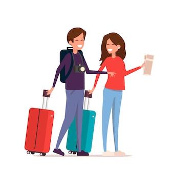 旅行でバッグ、チケット、カメラを持つ観光客のカップル。休暇の人々。