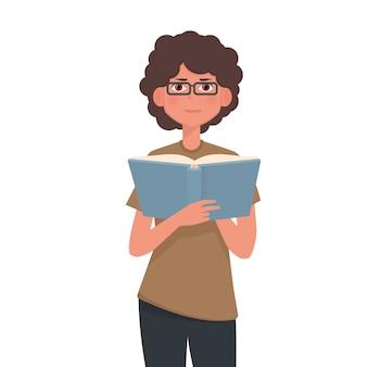 女の子は本を読んでいます。
