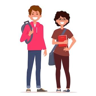 バックパックと本と幸せな学生。